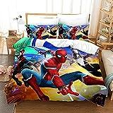 GSYHZL Housse de Couette à Motif d'impression 3D Spiderman,taie d'oreiller Simple,Double King Size,Ensemble de literie préféré pour garçons,Adolescents - Spiderman 4_220x240(3PCS)