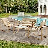 Salon de Jardin Table Basse avec Canapé et Chaises Extérieures en Acier avec Coussins Oléfines et Plateau de Table en Verre Imitation Bois Kaki