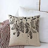 Taie d'oreiller Decorative Linen Throw Pillow Cover Plume Sleep Black Air Tribal Myth White Feather Feathery Hand Magic Watercolor Drawn Design Flight Cushion Case Square Pillowcase 24 x 24