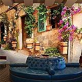 Shimybend Papier Peint Photo 3D Personnalisé Rétro Européen | Nostalgia Bâtiments De Campagne Fleurs Murales Canapé De Salon Décor Arrière-Plan De Maison