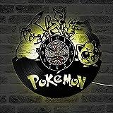 TTZSE Horloges murales Pokemon LED allumant Horloge Murale en Vinyle Design Moderne Bande dessinée CD Classique Montre 3D décoratif Suspendu décor à la Maison Silencieux-avec LED lumière 12 Pouces