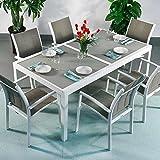 Lazy Susan Table Aluminium et Verre Florence et 6 Chaises Georgia - Blanc & Champagne | Table à Manger Extensible en métal de 240cm