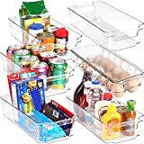 KICHLY - Ensemble de 6 Bacs de Rangement (1 bac à oeufs et 5 bacs de rangement) - Boîte de Rangement pour le réfrigérateur, la cuisine, le garde-manger, les armoires et les comptoirs (Transparents)