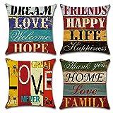 Gspirit Taie d'oreiller, Lot de 4 en Coton et Lin Rétro Style Housse De Coussin carré pour Lit Voiture De La Maison Canapé 45 x 45 cm (Amour Rétro)