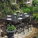 Lazy Susan - Table rectangulaire 200 x 120 cm Sophia et 6 chaises de Jardin - Salon de Jardin en Aluminium moulé, Coloris Bronze Ancien (chaises Kate)