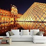 Papier Peint Paris Louvre La Nuit 3D Papier Peint Salon Canapé Tv Mur Chambre Papiers Peints Décor À La Maison Restaurant Bar Murale-300 * 210Cm