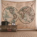 Kihomedy Wall Tapisserie, Tenture Carte Mondiale des Hémisphères Nord et Sud Kaki pour la Décoration des Chambres 200X200Cm