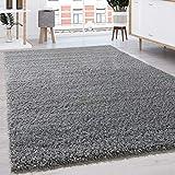 Paco Home Tapis Shaggy Longues Mèches en Différentes Tailles Et Coloris, Dimension:140x200 cm, Couleur:Gris