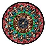 OcaseQ Tapis Ronds en Coton Antidérapant Lavable Chic Bohème Mandala Imprimé Coton Tapis Ultra Doux Tapis Moderne de Tapis Canapé Tapis de Sol pour Chambre Salon,2,180cm