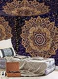 Aakriti Gallery Tapisserie Murale en Coton Mandala - Couvre-lit Bohème, Couverture Boho/Tapisseries pour Salon, décoration de la Maison (Bleu doré, 234 x 208 cm)
