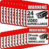 20 Pièces Autocollant de Surveillance Vidéo 2 Taille, 5 x 5 Pouces et 3 x 4 Pouces 4 Pouces Adhésif 24 Heures de Signalisation d'Avertissement de Sécurité