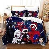 Spiderman Avengers Super Heros Housse De Couette 2 Personnes avec Taie d'oreiller Parure De Drap 200X200 Adulte pour Adulte Et Enfant Microfibre Douce Confortable Parure De Lit 200X200 Cm