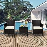 Pectt Lot de 3 chaises de jardin en rotin avec coussins épais et table basse en verre, meubles d'extérieur en rotin pour jardin, cour ou porche