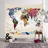 Morbuy Carte du Monde Tapisserie Murales Hippie Décoration Tenture Couverture Pique-Nique Polyester Nappe Serviette de Plage Yoga Indienne Tapestry (Grand (150 x 200cm), Fond Blanc)