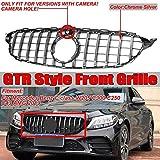 LSYBB Grille Avant de Voiture GTR GT Grill pour Mercedes Benz Classe C W205 C300 C250 C43 2019+ avec caméra,Silver