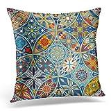 Topyee Housse de coussin motif mandalas marocain vintage abstrait africain batik bohémien Tapis oriental 45 x 45 cm Décoration d'intérieur Housse de coussin carrée pour lit canapé