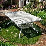 Fonte d'aluminium de sOPHIA de jardin blanc 200 x 120 cm, 1 rectangulaire blanc gartensitzgruppe- sOPHIA mARIA table 6 chaises blanc
