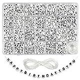 TOAOB 1440pcs 7 x 4mm Acrylique Lettre Alphabet Perles de A à Z Blanc Ronde et Motif de Coeur Noir avec 15mm Fil De Cristal pour Le Bricolage Fabrication de Bracelets Colliers Bijoux