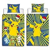 Parure de lit réversible Beronage - Pour enfant - Motif Pokémon Go Pikatchu - 100 % coton - Dimensions standards: 135 x 200 cm + 80 x 80 cm