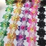 Un ensemble de 6 grandes fleurs de couleurs en dentelle d'organza, dentelle perle clouée à double couche pour décoration de la main, vêtements de poupée Matériaux d'artisanat adaptés à la production d