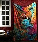 RAJRANG BRINGING RAJASTHAN TO YOU Tapestry Moon - Tapisserie Tenture Murale Mandala Wall Hanging Soleil Boheme Orientale Tie Dye Indienne Decoration Coton Tissu Indien Tapestrie 213 x 137 cm