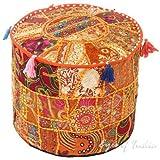 Bohème Patch Work Ottoman Coque vintage traditionnel indien Pouf Sol/Repose-pieds Housse de chaise Décoration de Noël 100% coton Art Décor Coussin 14 x 22 seulement Housse de remplissage non inclus