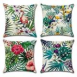 FreeasLot de 4housses de coussin en coton et lin Motif plantes tropicales 45x 45cm, Lin Coton, a, 45 x 45 Centimeters