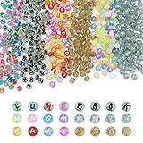 Beadthoven Lot de 1 200 perles rondes en acrylique avec lettres de l'alphabet de 7 mm et paillettes pour fabrication de bracelets et de bijoux (6 styles)