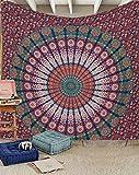 raajsee Bleu et Orange Mandala Ombre Tentures Murales Indiennes/Bleu Tapisserie Mandala Hippie/Psychedelique Bohemian Rideaux Orientale Decorations/Couvre lit Queen 210x220cms(82x92 inches)