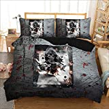 Parure de lit 3 pièces Onlyway avec housse de couette et 2 taies d'oreiller Motif tête de mort, Faucheuse, King (220 x 240cm)