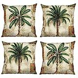 Bonhause Lot de 4 Housse de Coussin 45 x 45 cm Palmier Tropical Coton et Lin Décoratif Taie d'oreiller pour Canapé Lits Chaises Voiture Salon Maison Décor