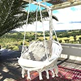 Chaise Suspendue, tricotée par Corde de Coton avec des Franges romantiques hamac macramé Chaise balançoire pour l'intérieur/extérieur, Patio, terrasse, Cour, Jardin, Bar, capacité de 120KG