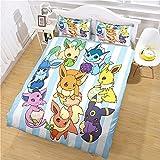 Parure de lit avec Housse de Couette 240x220cm avec Microfibre Fermeture Éclair, Pokémon Évoli et 2 Haut de Gamme Taie d'oreiller 65x65cm Épaissir et Doux Linge de lit