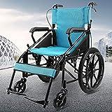 YIQIFEI Fauteuil Roulant Pliable Portable Ultra Léger Manuel Transport Pliant Propulsé par Préposé Voyage Bleu (Fauteuil Roulant)