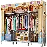 ZZBIQS Penderie extra large en tissu avec compartiments et 2 poches latérales, Garde-Robe Penderie en textile pour vêtements, dressing, chambre à coucher (ville ensoleillée)