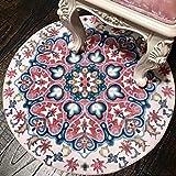 ADXHH Collection Loom Traditionnelle Vintage Tones Tapis ethnique nordique Salon Table basse Chambre à coucher Chevet Chaise pivotante Tapis rond Mandala Style floral (Color : 4.59 ft diameter)
