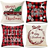 Housse de Coussin Noel 45 x 45 Decoration Canapé Decoratifs Plaid Pour Canap¨¦ Merry Christmas Decoration Tair Oreiller Pilou Pillow Rouge Wapiti Flocon de Neige Lin