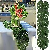 Feli546Bruce Lot de 12 sets de table - Feuilles tropicales artificielles de Monstera - Décoration de table - Pour fête, hôtel, mariage