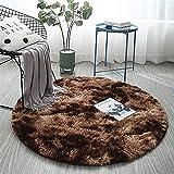 Sarah Duke Tapis rond en fourrure d'agneau synthétique imitation peau de mouton Tapis long Jeté de lit Canapé Tapis (marron, 100 cm)