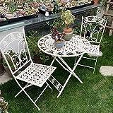 Ensemble de 3 Meubles de Jardin, Table et chaises Pliantes en Fer forgé pour taverne extérieure, 2 fauteuils et 1 Table en métal pour la Piscine de la Cour/pelouse/arrière-Cour
