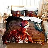 GSYHZL Taie d'oreiller de Housse de Couette à Motif d'impression 3D Spiderman,Simple Double King Size,Ensemble de literie préféré pour garçons,Adolescents-Spiderman 2_220x240(3PCS)