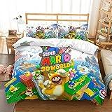 BLSM Parure de lit Super Mario pour lit simple et double avec fermeture éclair, housse de couette et taie d'oreiller assortie (L,220 x 240)