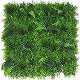 Mur Végétal Artificiel 100 x 100 cm Haut de Gamme Plaque Végétale Artificielle Panneau Mural Vert Fleur Fausse Plaque Murale Intérieur Extérieur Décoration Bureau Maison Jardin (Pandonia)