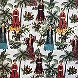 Kt Kilotela Tissu Patchwork Impression numérique 100 % coton Coupon de 100 cm de long x 140 cm de large Multicolore Blanc 1 m