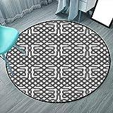 Celtic Tapis rond personnalisé 12,7 cm Rond Noir Blanc Motif celtique horizontal texturé avec motif héraldique du Sud Scandinave pour chambre à coucher, salon (rond 160 cm x 160 cm)