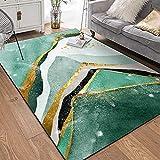 PANGLDT Tapis Chic Noble Moderne Design -Tapis géométriques Modernes avec Motif de marbre Vert doré- Salon Chambre Maison Tapis Coussin de Chaise d'ordinateur-80x160cm
