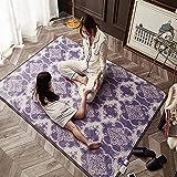 Couverture électrique thermique à cheveux courts, tapis de sol de la chambre de salle de bains antidérapante pour la collection facile, graphène Carbon Cristal Tapis chauffage,200*200cm(78.74*78.74in)