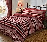 Sleepdown Parure de lit avec Housse de Couette et taies d'oreiller en Flanelle rayée en Coton brossé, Coton Polyester, Rouge, King