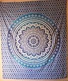 Indus Lifespace Grande tapisserie | 228,6 par 254 cm | Sol indien, décoration murale, couvre-lit, art mural, yoga, tapis de table, tapis de table suspendu pour salon, chambre à coucher, dortoir.