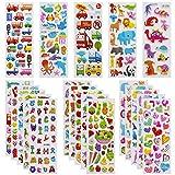 Meafeng Autocollants 3D pour Enfants 2 à 4 Ans, 24 Feuilles Kids Stickers Plus de 550 Comprenant des Animaux, la Vie Océanique, Dinosaures et Bien Plus